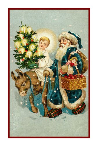Counted Cross Stitch Chart Victorian Father Christmas Santa with Child on Donkey and Tree (Santa Cross Stitch Chart)