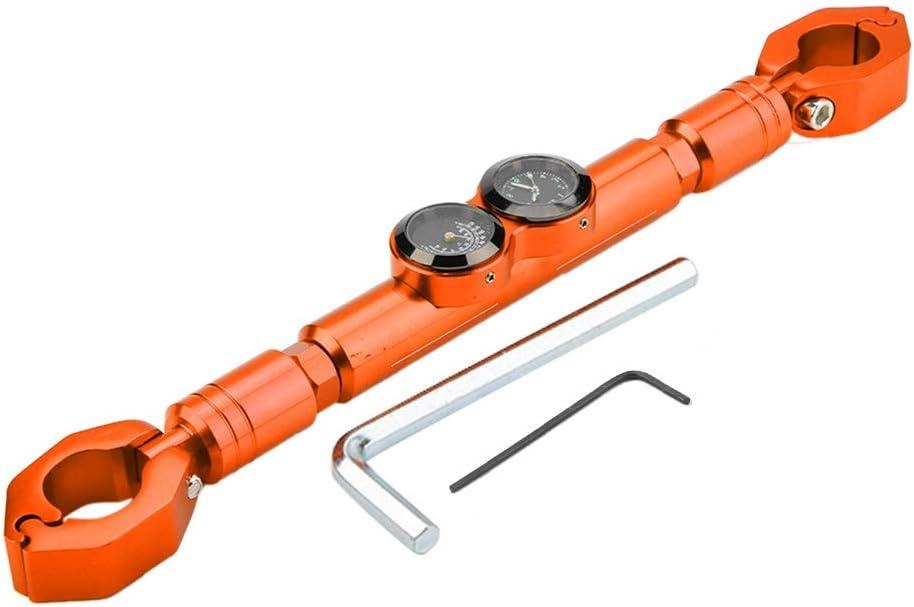 vMotorrad Balance Bar Universal 22mm Motorrad Lenker mit Thermometer Uhr verst/ärken Bar Orange