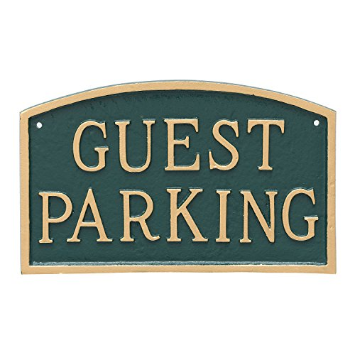 Montague Metal Products Arch Guest Parking Statement Plaque Sign, Hunter Green with Gold Lettering, 5.5
