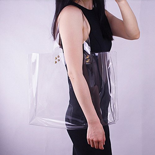Tote PVC Work Stadium Shoulder Bag Bags for Height Transparent 24cm Women's Approved Purse Clear Shoulder Handbags Clear Straps zxnHqIwp5