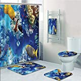 Bathroom 5 Piece Set shower curtain 3d print Multi Style,Ocean,Wild Underwater Sea Animal Aqua World Corals Tropical Fishes and Stingray,Navy Blue and Yellow,Bath Mat,Bathroom Carpet Rug,Non-Slip,Bath