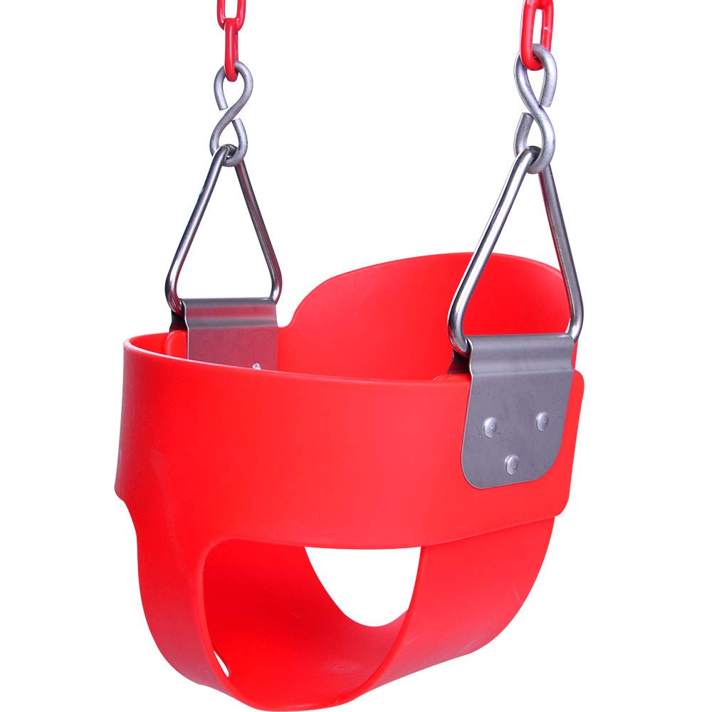 Pink HappyPie Infant to Toddler Secure Hanging High Back Full Bucket Baby Swing Seat with Chains