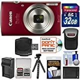 Canon PowerShot Elph 180 Digital Camera (Red) 32GB Card + Case + Battery & Charger + Flex Tripod + Kit