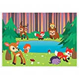 Photo Booth Background Woodland Animals Photography Backdrop -Photo Booth Backgrounds Great for Kids, Girls, Boys, Animated Cartoon Forest Animal Theme Birthday Parties DIY Photobooths 5 x 7 Feet