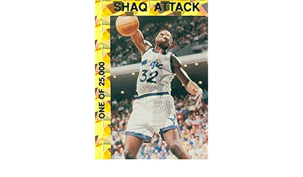 7c317b62fc0 Shaquille O Neal basketball card (Orlando Magic) 1993 Shaq Attack Gold  Recfractor All Star Rookie  1 at Amazon s Sports Collectibles Store