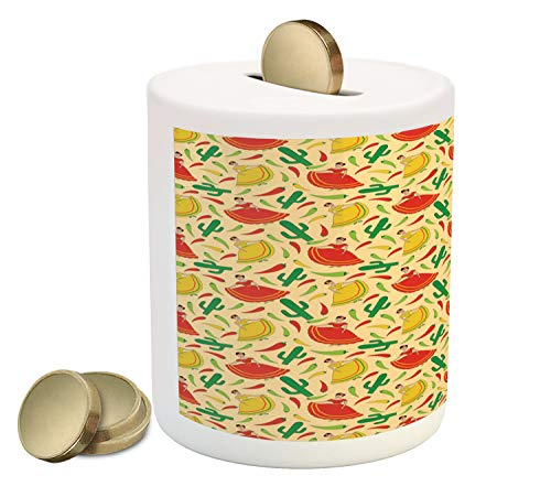 - Ambesonne Spanish Piggy Bank, Dancing Mexican Women Cactus and Chili Peppers Jalapeno Latin Motif, Printed Ceramic Coin Bank Money Box for Cash Saving, Green Vermilion Yellow