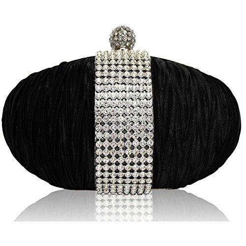 TrendStar - Cartera de mano mujer - Black Satin Clutch Bag