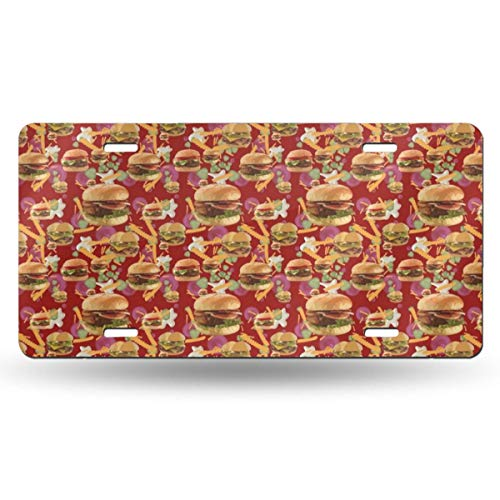 NOWDIDA License Plate, Red Hamburgers French Fries Decorative Car Front License Plate, Vanity Tag, Metal Car Plate, Aluminum Novelty License Plate for Men/Women/Boy/Girls Car, 6 X 12 Inch