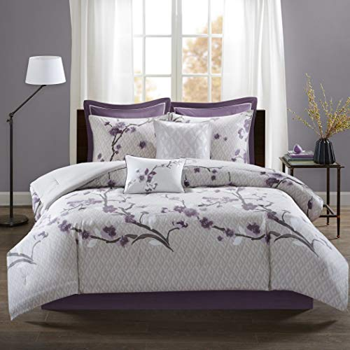 TL 8 Piece Purple White Floral Pattern Comforter Set Queen, Light Purple Flower Design Leaf Geometric Printed Adult Bedding Master Bedroom Reversible Glam Mid-Century Modern, Cotton