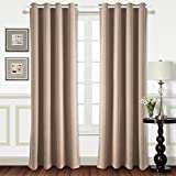 Energy Saving Curtains Best Dreamcity Room Darkening Curtains - Triple Weave Energy Saving Thermal Insulated Solid Grommet Blackout Drapes for Living Room (1 Pair,52 Inch by 84 Inch,Taupe)