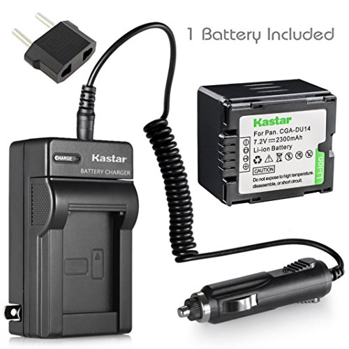 Kastar Battery and Charger for Panasonic VDR-D230 VDR-D250 VDR-D300 VDR-D310 VDR-M30 VDR-M50 VDR-M53 VDR-M70 VDR-M95 VDR-M250 Camcorder and CGA-DU06 CGA-DU07 CGA-DU14 CGA-DU21 Battery (Lithium Cga Ion Battery Du14)