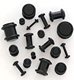 Black Acrylic Plugs - Sold by Pair (Choose Size) (10G (2.4mm))