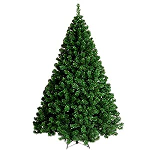 YOURFUN Premium Hinged Artificial Christmas Pine Tree 4-7FT Easy Assembly Solid Metal Legs 300-1100 Tips 45