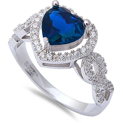 Heart Shape Simulated Blue Sapphire & Cubic Zirconia .925 Sterling Silver Ring Size 5
