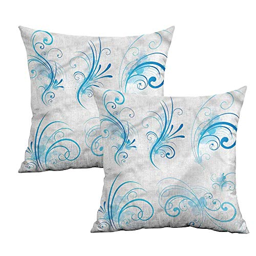 "Khaki home Blue and White Square Pillowcase Protector Swirls Floral Curls Square Custom Pillowcase Cushion Cases Pillowcases for Sofa Bedroom Car W 14"" x L 14"" 2 pcs"