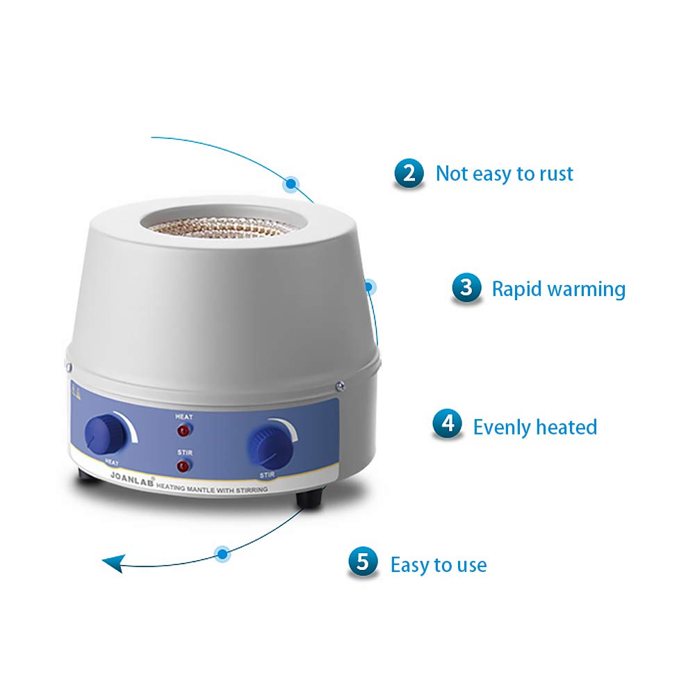 500ML 350w HUKOER Magnetic Stirring Mantle 500ml Magnetic Stirrer Heating Mantle 0~1400rpm Magnetic Stirring Heating Plate 250W Magnetic Stirrer