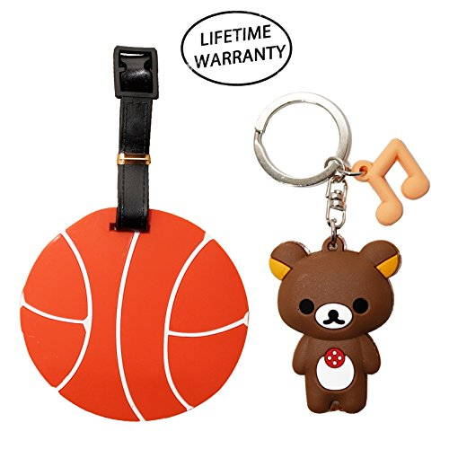 Diyjewelrydepot Diyjewelrydepot Sports Ball Luggage Travel Tag For Bags   Backpacks   Bear Keychain  Basketball