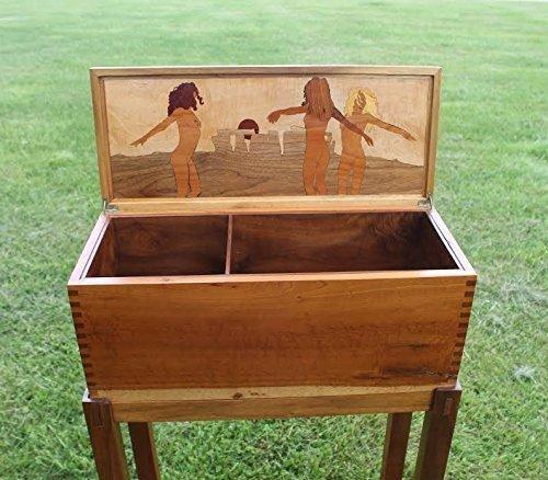 Hand Cut Inlayed Hardwood Box on a Walnut Stand - Hand Inlayed