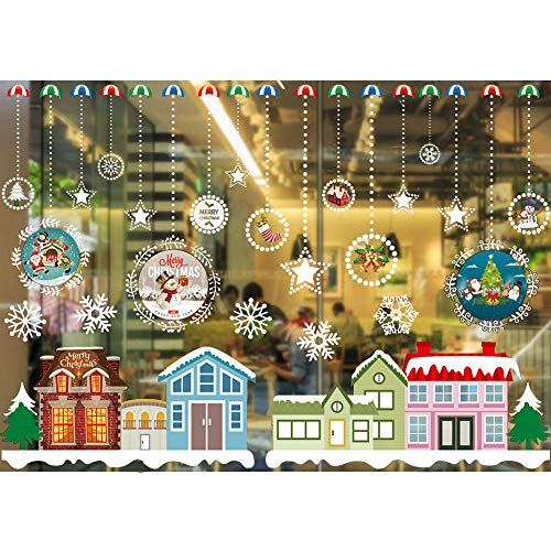 Jasion Christmas Window Clings Wall Decals Decors Removable DIY Static Wall Stickers for Christmas Holiday New Years Winter Decoration Ornaments Party Supplies (A09)