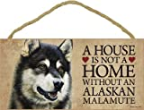 (SJT30102) A house is not a home without an Alaskan Malamute wood sign plaque 5