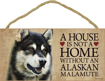 """(SJT30102) A house is not a home without an Alaskan Malamute wood sign plaque 5"""" x 10"""""""