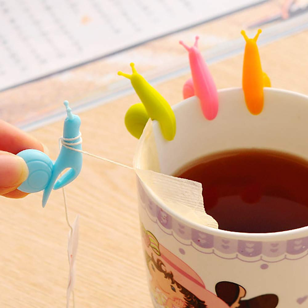 Euone  Tea Bag Holder, 10pcs Cute Snail Shape Silicone Tea Bag Holder Cup Mug Candy Colors Gift Set