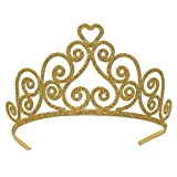 Beistle 60641-GD Glittered Metal Tiara. This designed golden crown incorporates hearts into its design. This tiara is great for the ladies to wear at the Mardi Gras party! It is one size fits most and has two attachable combs included.