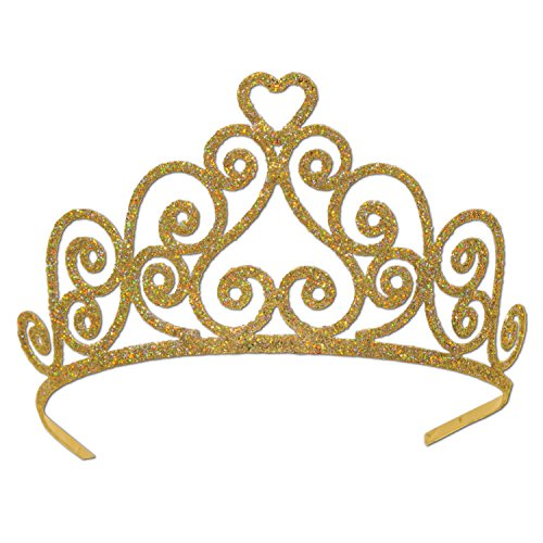 Beistle 60641-GD Gold Glittered Metal (Gold Plastic Tiara)