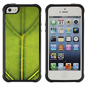 Caucho caso de Shell duro de la cubierta de accesorios de protección BY RAYDREAMMM - Apple iPhone 5 / 5S - Green Leaf Nature Pattern
