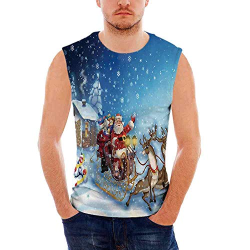 Mens Workwear Christmas Decorations Ultra Cotton Tank,Santa in Sleigh with Rein