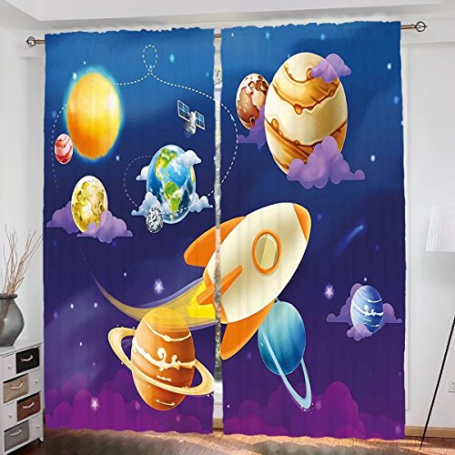 househome Boys Room Custom design Solar System of Planets with a Cute Spaceship Milky Way Galaxy Earth Jupiter Sun curtain Living Room Bedroom Window Drapes 2 Panel Set 108''x84'' Multicolor by househome