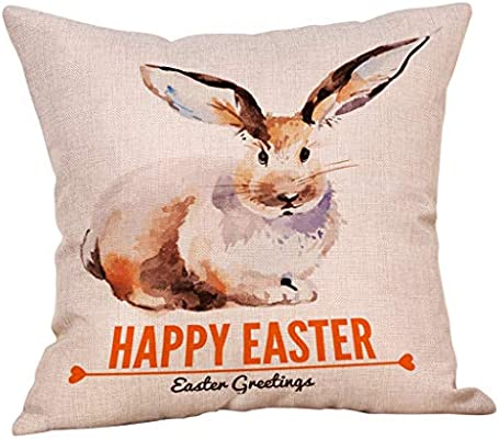 NPRADLA Cojin Funda Happy Easter Bunny Funda de Cojin Sofá ...