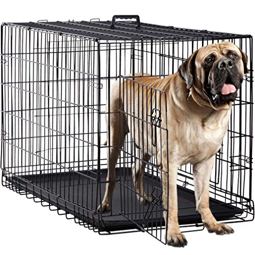 BestPet Dog Crate Double Door Folding Metal Dog Cage Plastic Tray Pet Crate Pet Cage W/Divider,24