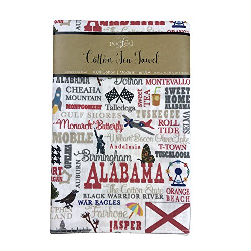 Alabama State Towel Cities Landmarks Made in the USA by Rooted