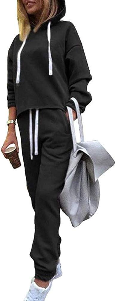 Onsoyours Mujer Chandal Ropa Deportiva Conjunto Deportiva Manga Larga Dobladillo Irregular Hoodie Pantalones 2 Piezas Trajes Yoga Fitness Chándales Loungewear Joggers Set
