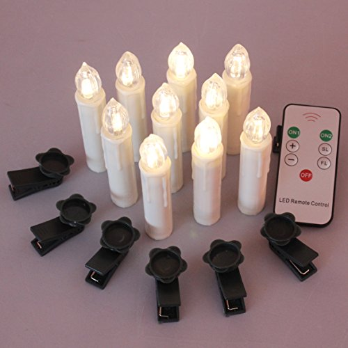 Candle Clip (TBW LED Flameless Taper Ivory Candles with Remote and Removable Clips, Drip Effect, Set of 10)