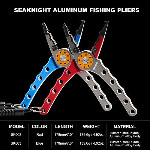 SeaKnight Aluminum Fishing Pliers for Fishing Line Cut and Hooks Remove with Coiled Lanyard and Belt Holder Sheath