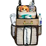 Baby Crib Diaper Caddy - Hanging Diaper Organizer - Storage For Baby Nursery - Hang on Crib, Changing Table, Playard or Furniture