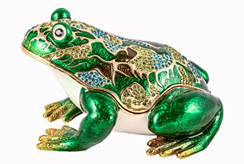 Jeweled Enamel Frog Box (Frog Trinket Box, Big Size, Hand Set Green Swarovski Crystal, Hand Painted Green Enamel Over Solid Pewter Base, Inside of Box with Lovely Enamel, Comes in Beautiful Gift Box, L 6.00 X H 3.50 X W 4.50)