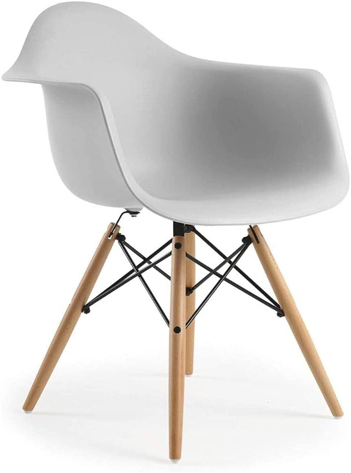 Eames Style Side Bucket Chair with Natural Wood Legs Eiffel Dining Room Chair Lounge Chair Eiffel Plastic Seat Grey Set 2