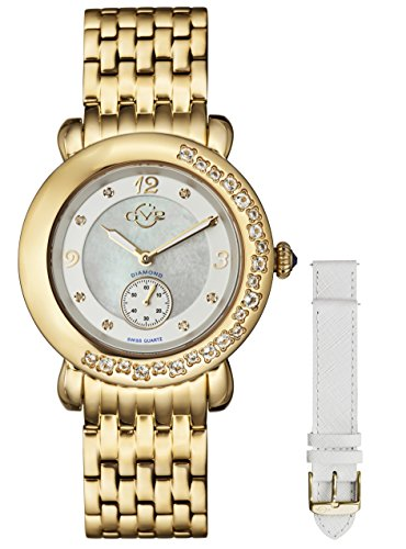 GV2 by Gevril Marsala Gemstone Womens With Gemstones and Diamonds Swiss Quartz Gold Tone Stainless Steel Bracelet Watch, (Model: 9891)