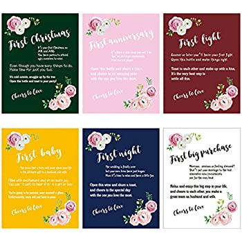 wedding firsts wine labels set bridal shower engagement gift marriage milestone wine bottle stickers 6 pack