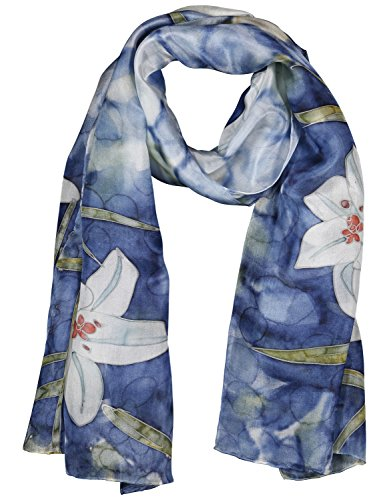 Art Silk Scarf - Invisible World Women's 100% Mulberry Silk Scarf Long Hand Painted Blue Lilly