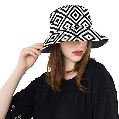 Hat Bucket Summer Cool Bucket Hat Black White Diamond Shape Ornament Reversible Outdoor Hats Travel Rain Hunting Hat for Toddler Fisherman ()