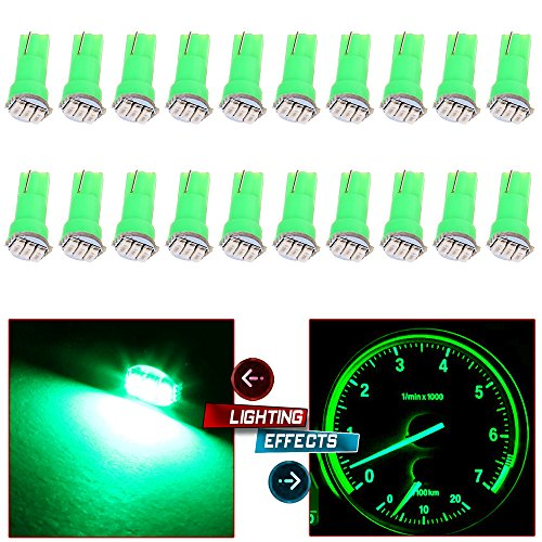 20x T5 17 74 73 Instrument Gauge Cluster Dash LED Bulbs Indicator Light (Green)