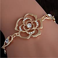 Meenanoom Appeal Flower 18K Gold Plated Austrian Crystal Womens Adjustable Bracelet