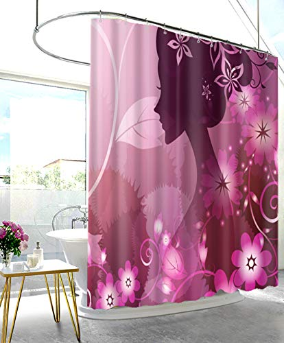 UHUSE Pink Purple Floral Girl Shower Curtain Bathroom Decor Set 12 Hooks 72x72 Inches Fairy Decor Environmentally Friendly - Girls Purple Shower Curtain For