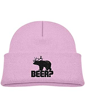 Kids Knitted Beanies Hat Deer Beer Bear Winter Hat Knitted Skull Cap for Boys Girls Blue