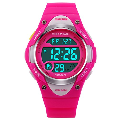 hiwatch-kids-sport-watch-164-feet-waterproof-led-digital-watch-for-girls-rose-red