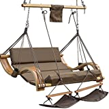 LazyDaze Hammocks Deluxe Oversized Double Hanging Rope Chair Cotton Padded Swing Chair Wood Arc Hammock Seat with Cup Holder,Footrest&Hardware, Capacity 450 lbs (Tan)